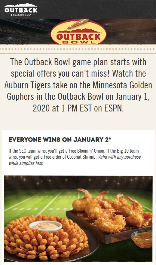 Outback Steakhouse Coupon January 2020 Free coconut shrimp or bloomin onion Thursday at Outback Steakhouse