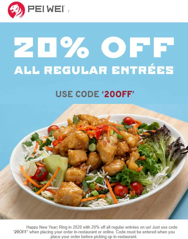Pei Wei Coupon January 2020 20% off at Pei Wei restaurants, or online via promo code 20OFF