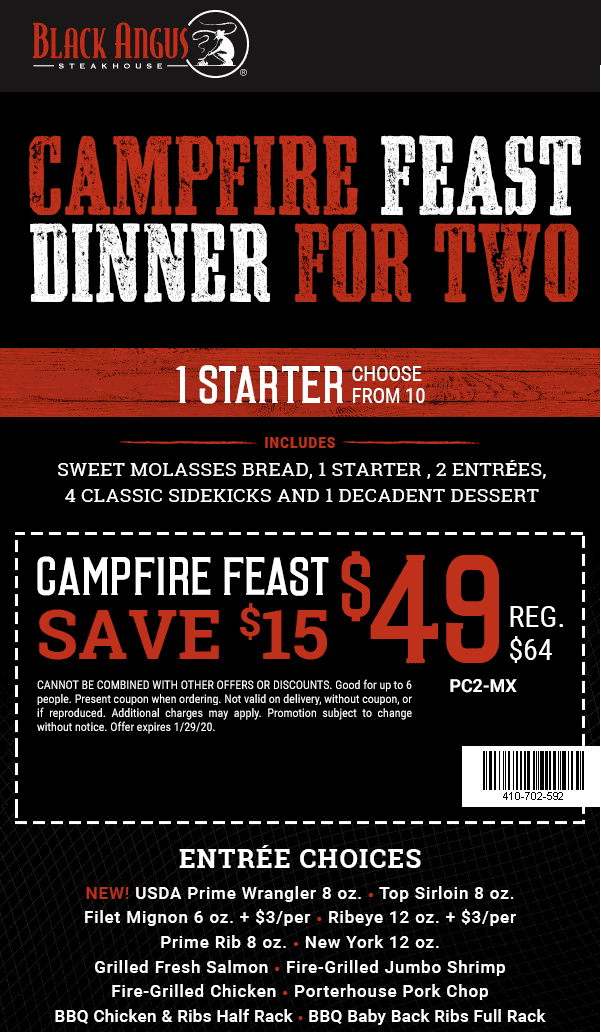Black Angus Coupon January 2020 Appetizer + 2 entrees + dessert = $49 at Black Angus steakhouse