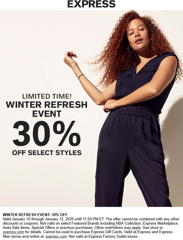 Express Coupon January 2020 30% off at Express, ditto online