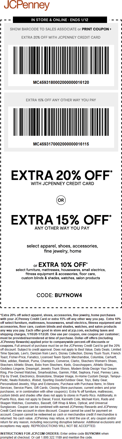JCPenney Coupon January 2020 15% off at JCPenney, or online via promo code BUYNOW4