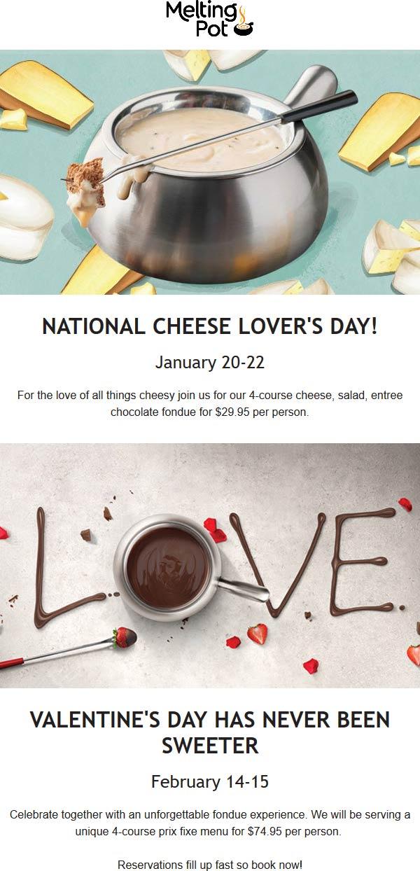Melting Pot Coupon January 2020 4-course entree cheese salad & chocolate fondue = $30 the 20-22nd at Melting Pot