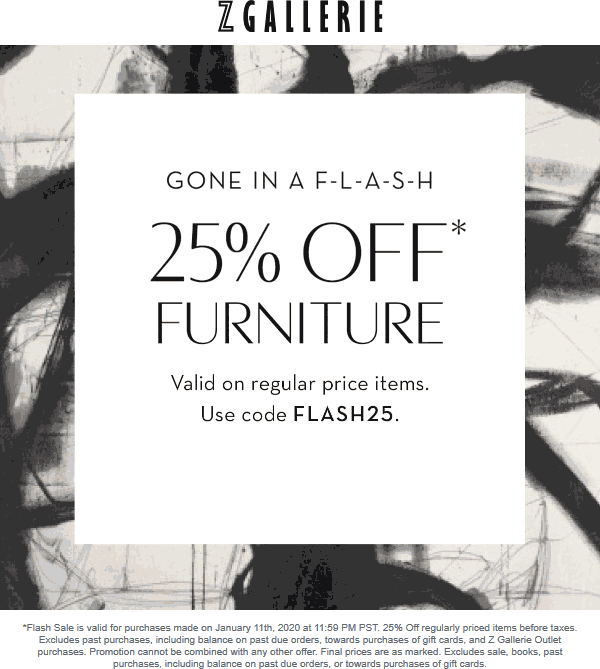Z Gallerie Coupon January 2020 25% off everything today at Z Gallerie, or online via promo code FLASH25