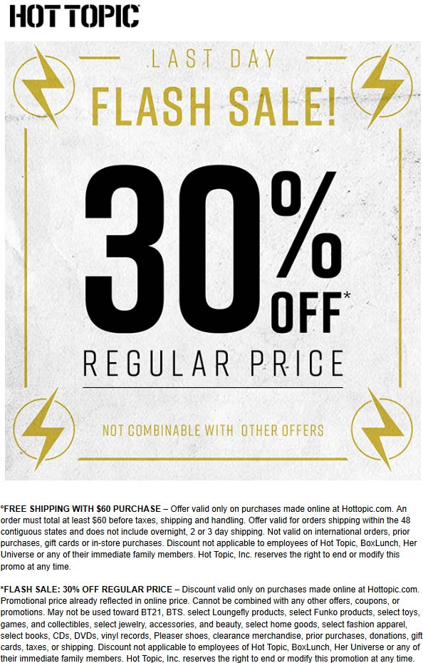 Hot Topic Coupon January 2020 30% off online today at Hot Topic