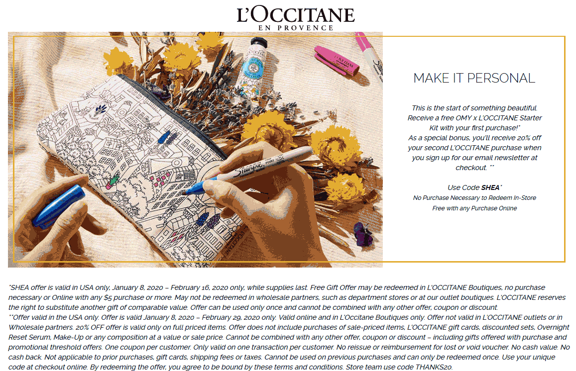 LOccitane Coupon January 2020 Free starter kit at LOccitane, or online with any purchase via promo code SHEA