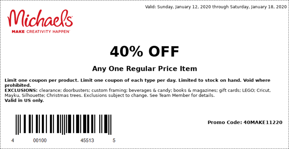 Michaels Coupon January 2020 40% off a single item at Michaels, or online via promo code 40MAKE11220