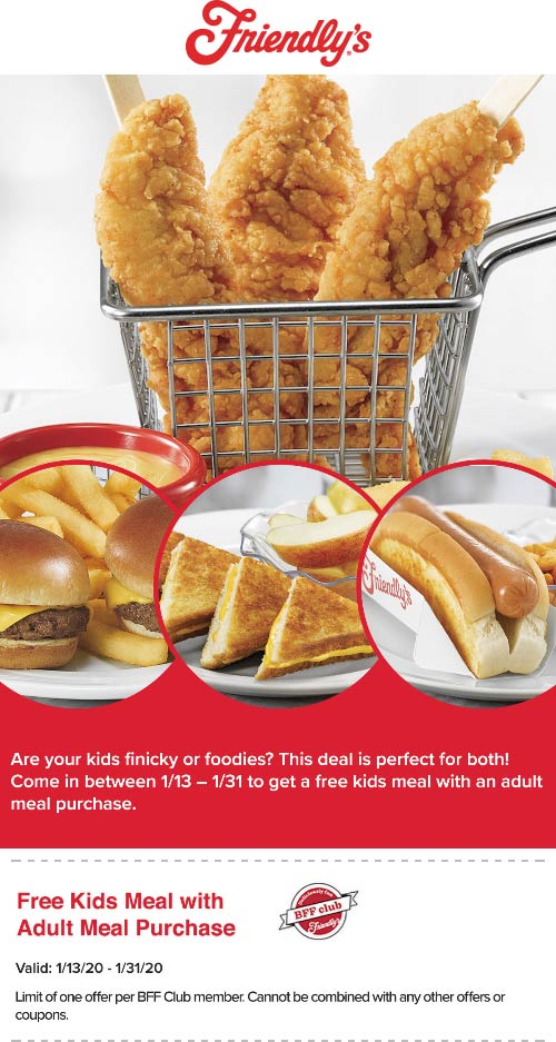 Friendlys Coupon January 2020 Free kids meal with your entree at Friendlys