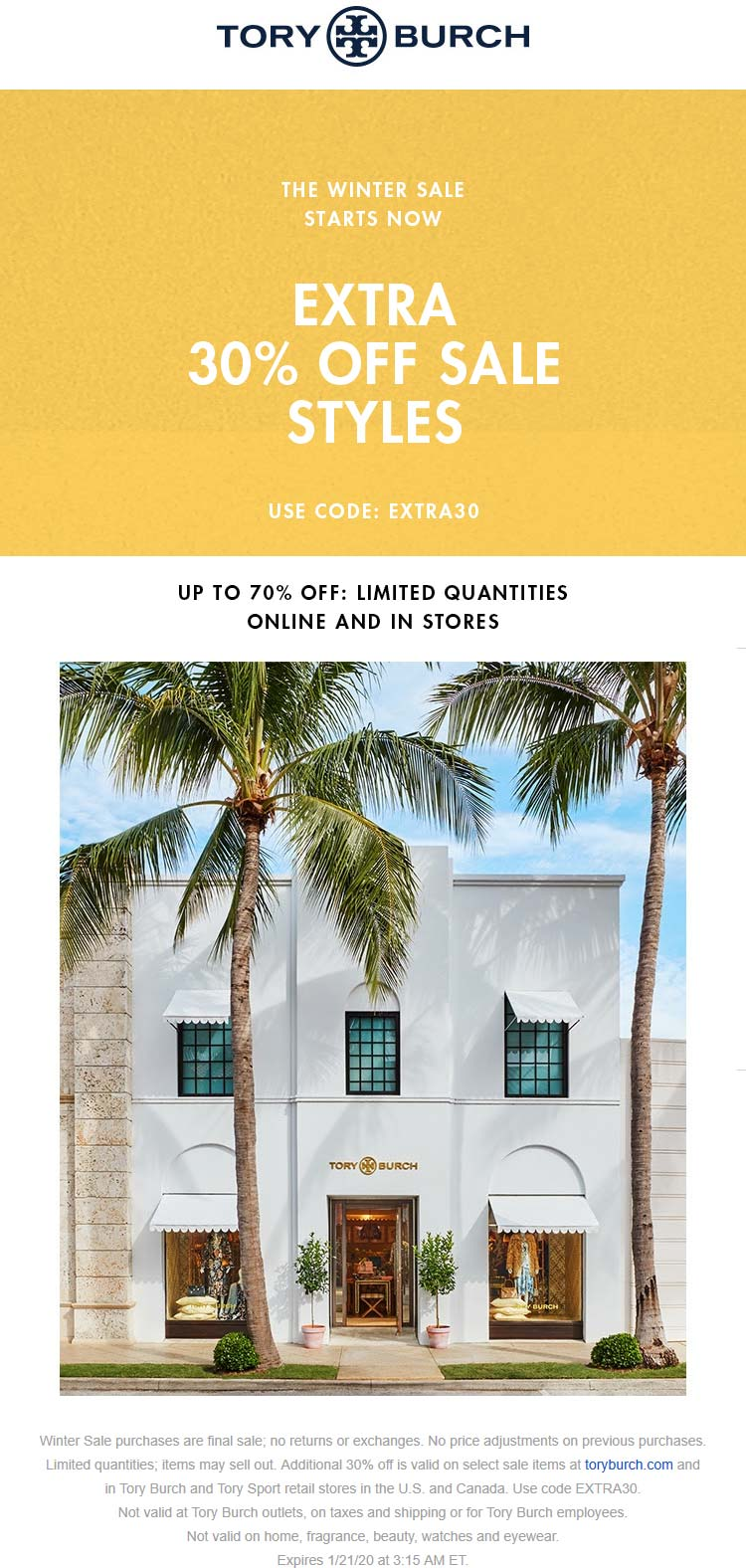 Tory Burch Coupon January 2020 Extra 30% off sale items at Tory Burch, or online via promo code EXTRA30