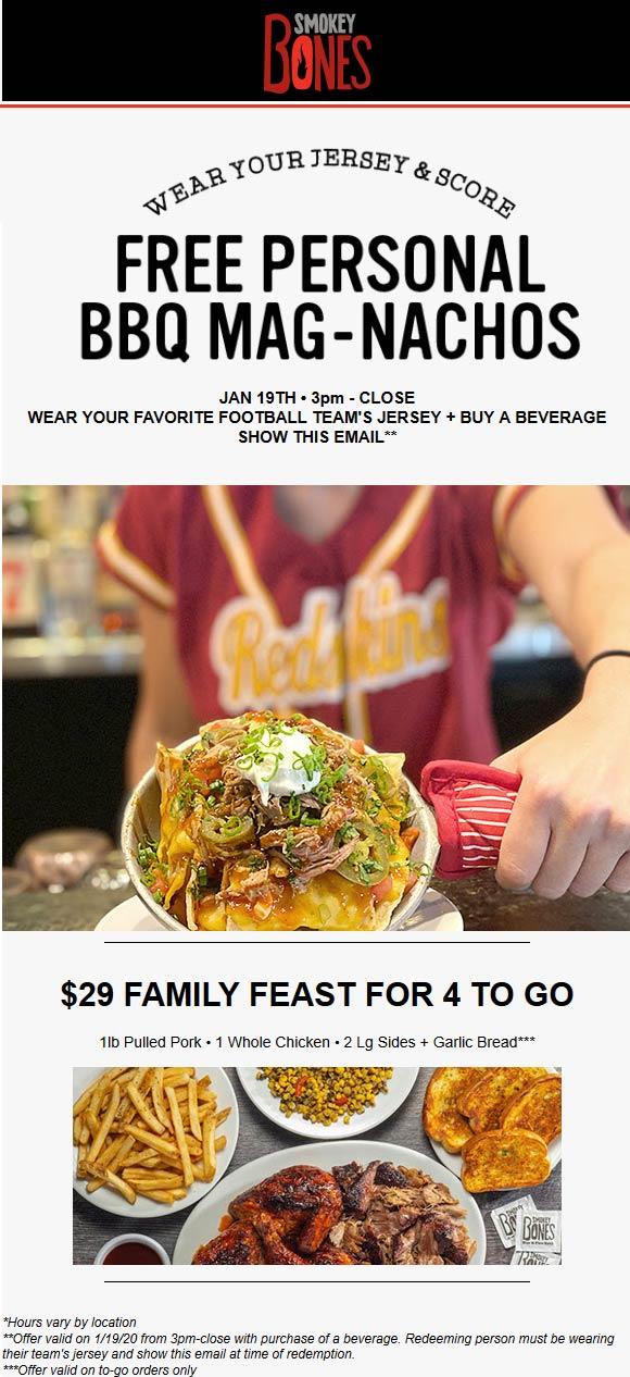 Smokey Bones Coupon January 2020 Wear a jersey for free bbq nachos Sunday at Smokey Bones restaurants