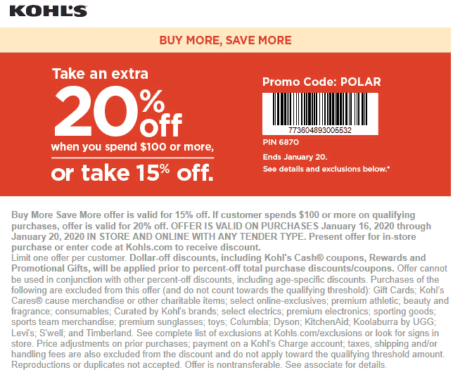 Kohls Coupon January 2020 15-20% off at Kohls, or online via promo code POLAR