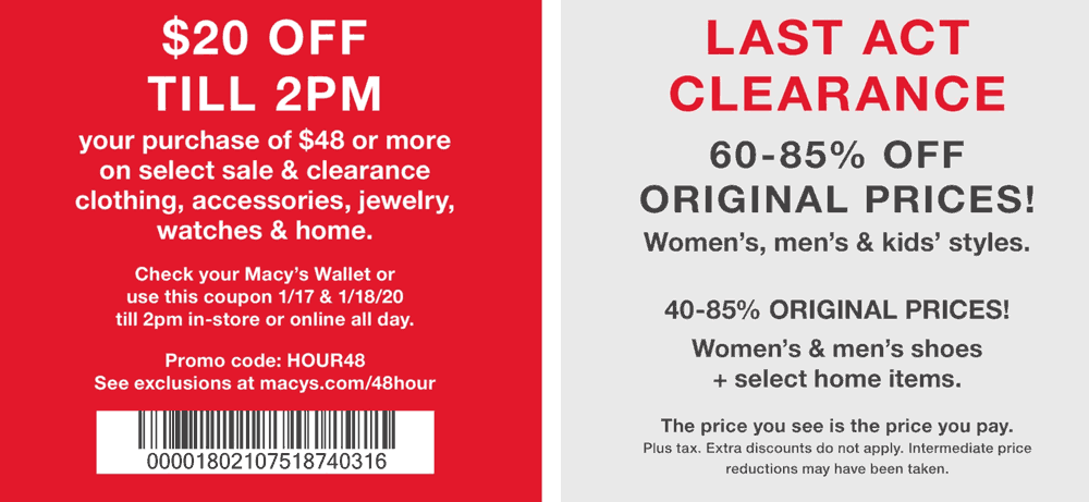 Macys Coupon January 2020 $20 off $48 til 2p this weekend at Macys, or online via promo code HOUR48