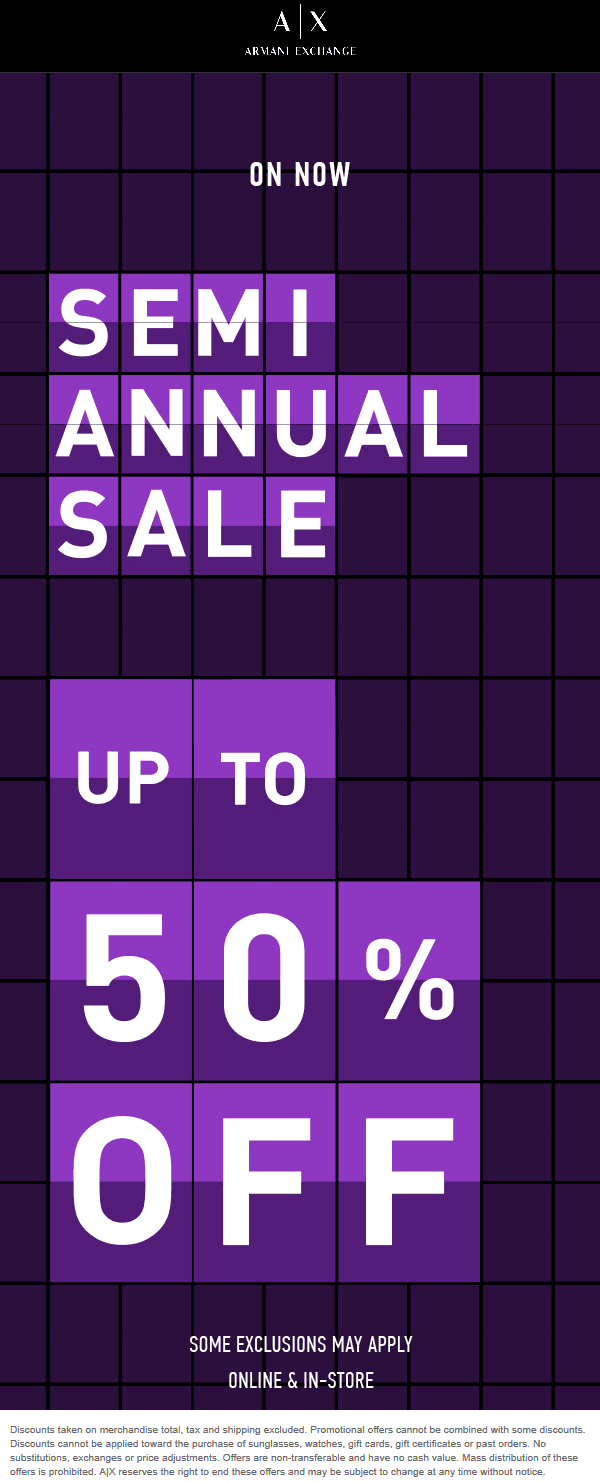 Armani Exchange Coupon January 2020 50% off sale going on at Armani Exchange, ditto online