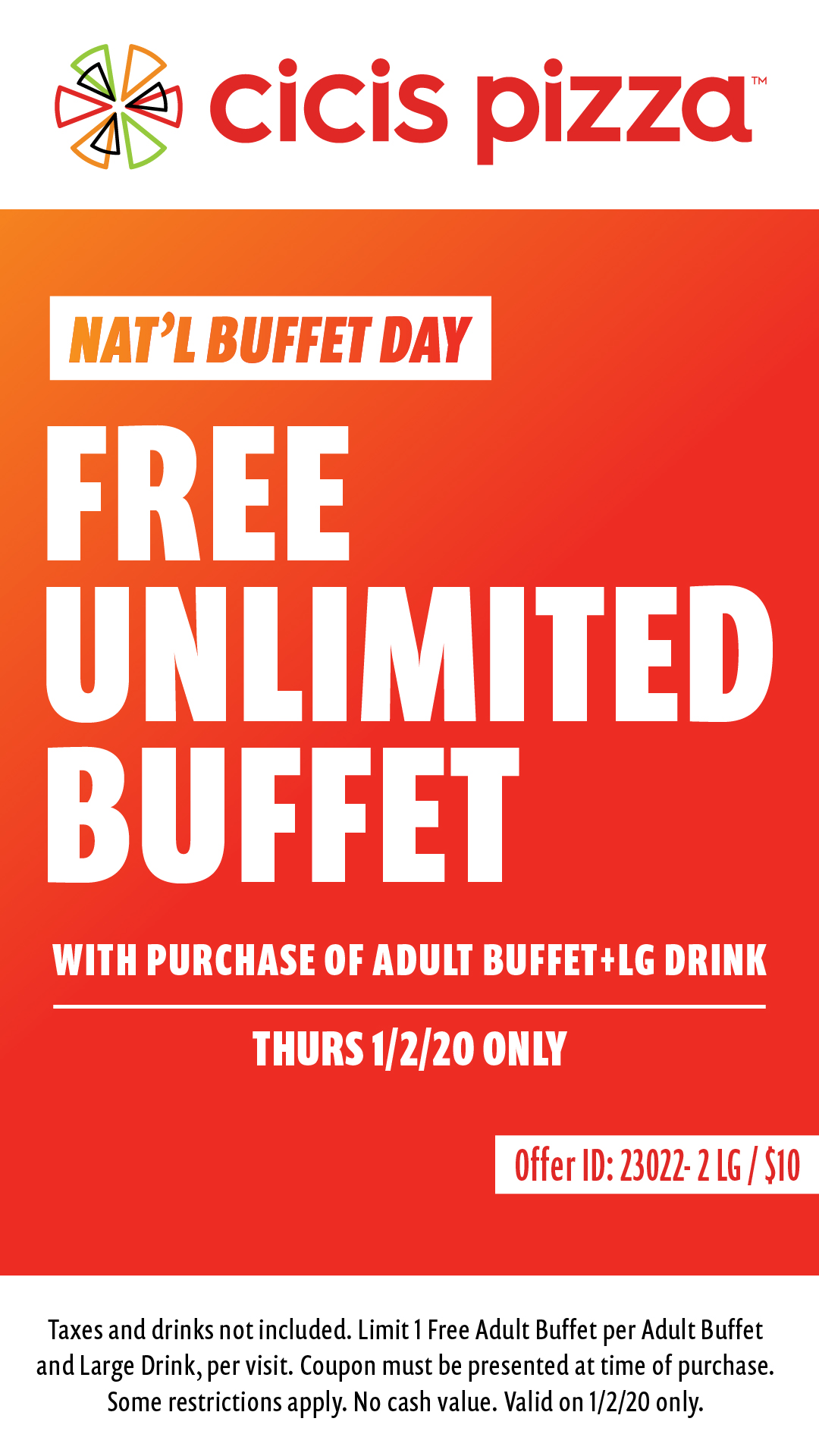 CiCis Pizza Coupon January 2020 Second buffet free today at Cicis Pizza