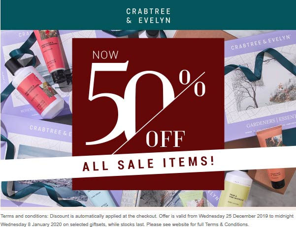 Crabtree & Evelyn Coupon January 2020 Extra 50% off sale items at Crabtree & Evelyn, ditto online