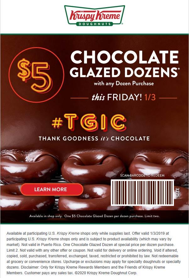 Krispy Kreme Coupon January 2020 $5 second chocolate dozen Friday at Krispy Kreme