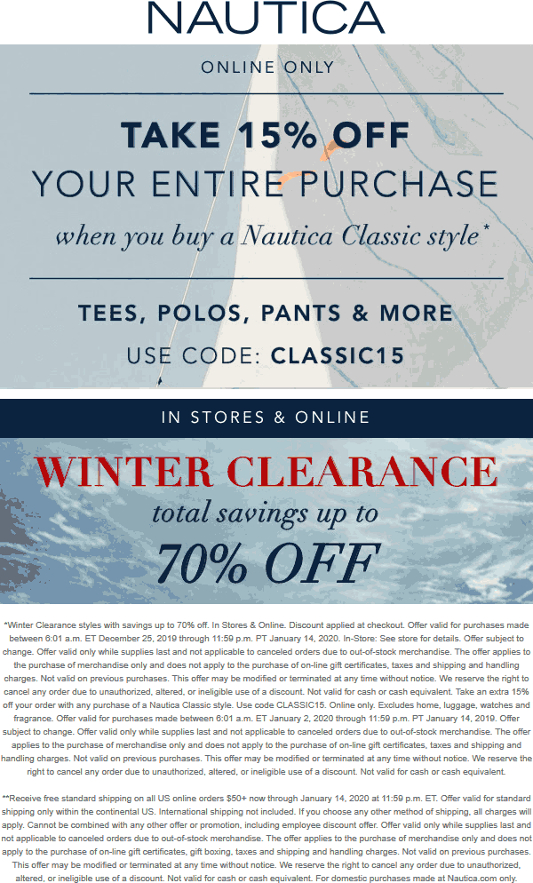 Nautica Coupon January 2020 15% off online at Nautica via promo code CLASSIC15