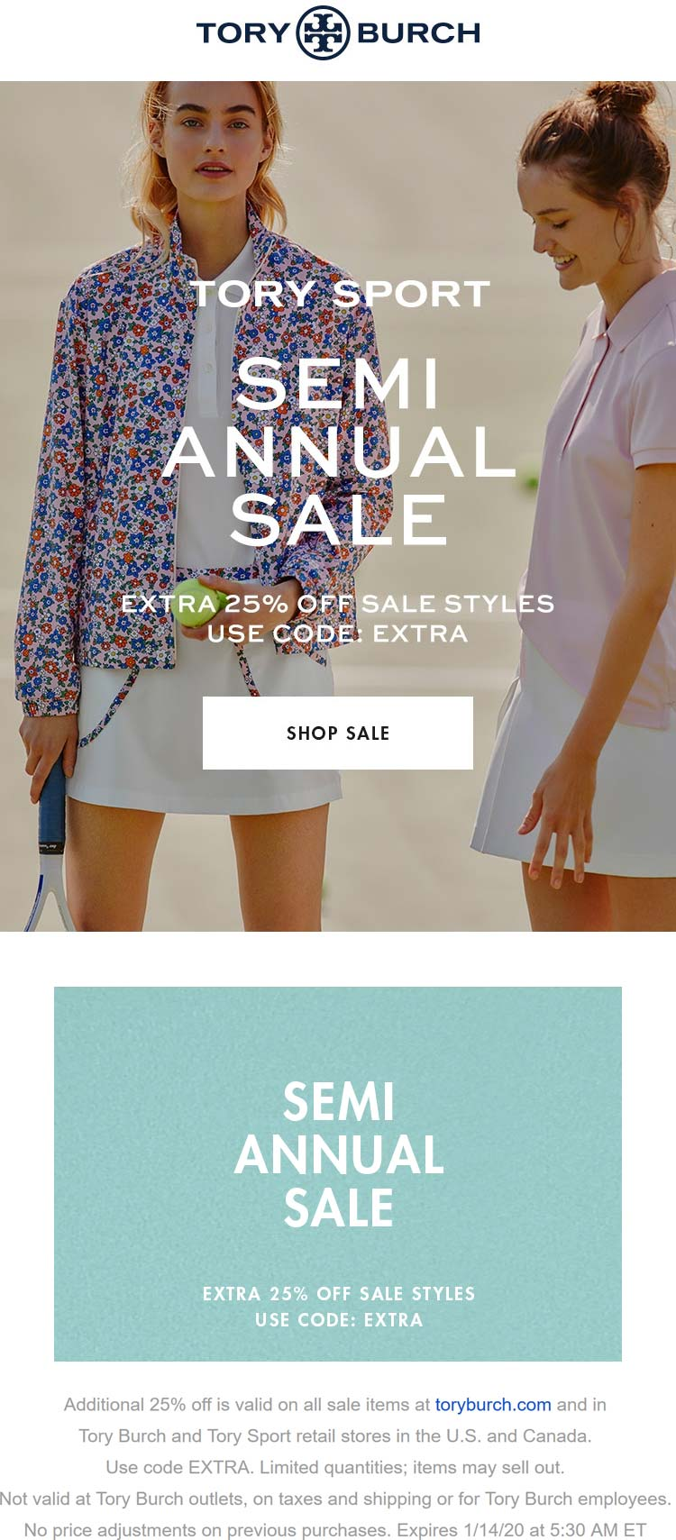 Tory Burch Coupon January 2020 Extra 25% off sale items at Tory Burch, or online via promo code EXTRA