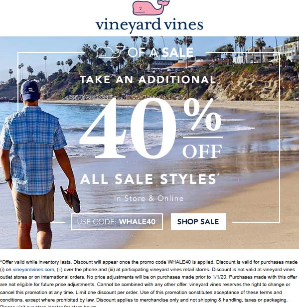 Vineyard Vines Coupon January 2020 Extra 40% off sale items at Vineyard Vines, or online via promo code WHALE40