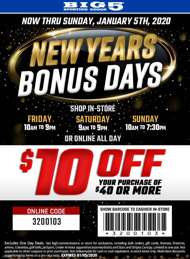 Big 5 Coupon January 2020 $10 off $40 at Big 5 sporting goods, or online via promo code 3200103