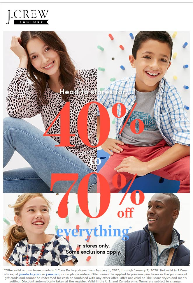 J.Crew Factory Coupon January 2020 40-70% off everything at J.Crew Factory