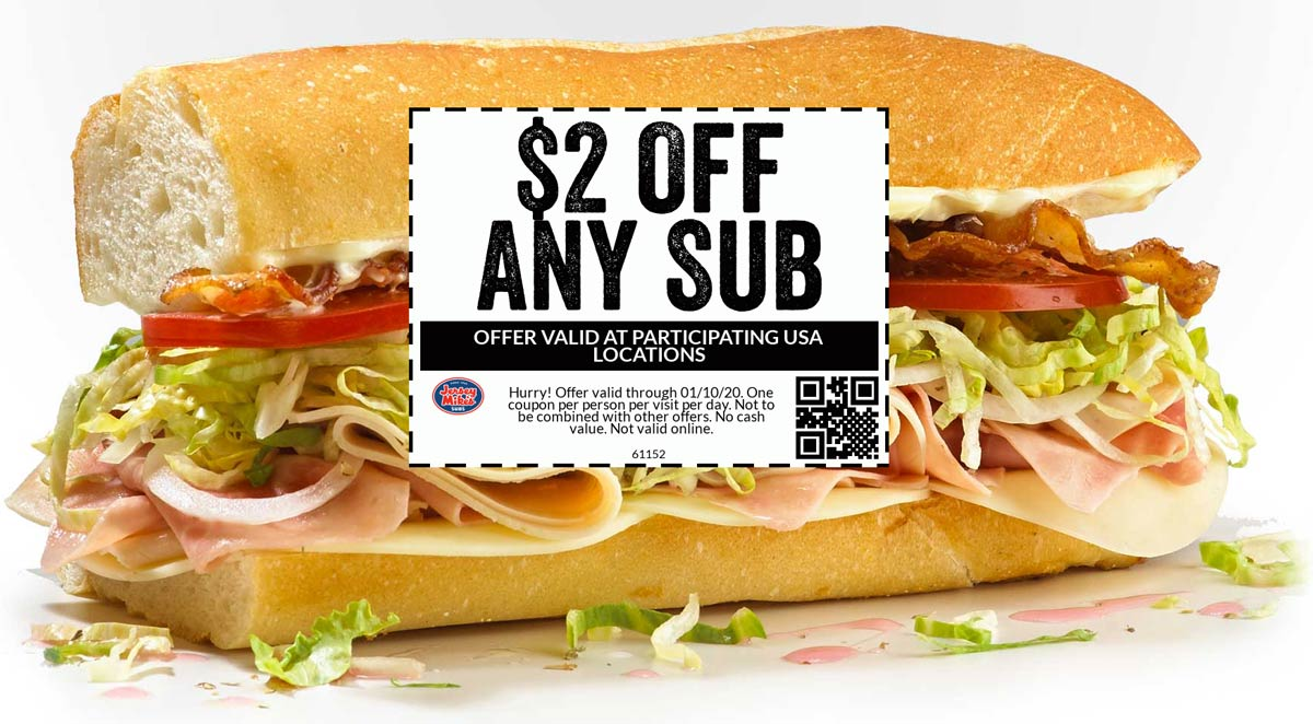 Jersey Mikes Coupon January 2020 $2 off any sub sandwich at Jersey Mikes