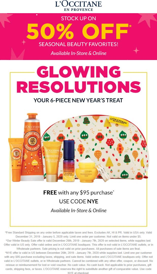 LOccitane Coupon January 2020 Free 6pc kit with $95 spent at LOccitane, or online via promo code NYE