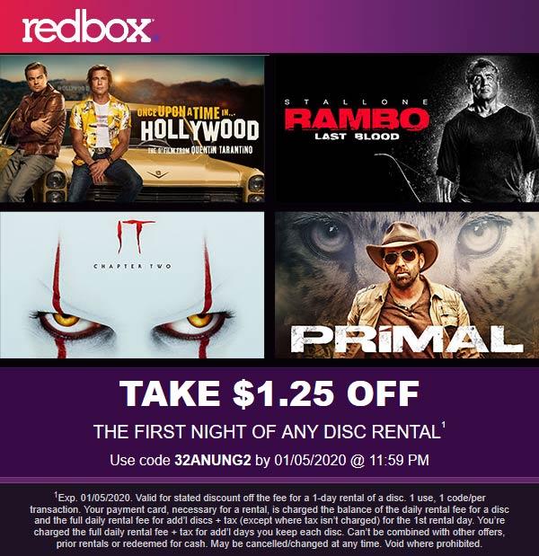 Redbox Coupon January 2020 $1.25 off any rental at Redbox via promo code 32ANUNG2