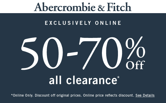 Abercrombie & Fitch Coupon January 2020 50-70% off clearance online at Abercrombie & Fitch