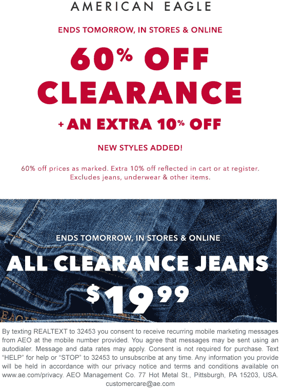 American Eagle Coupon January 2020 60% off clearance & more at American Eagle, ditto online