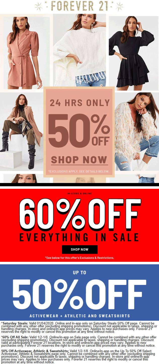 Forever 21 Coupon January 2020 50-60% off online today at Forever 21