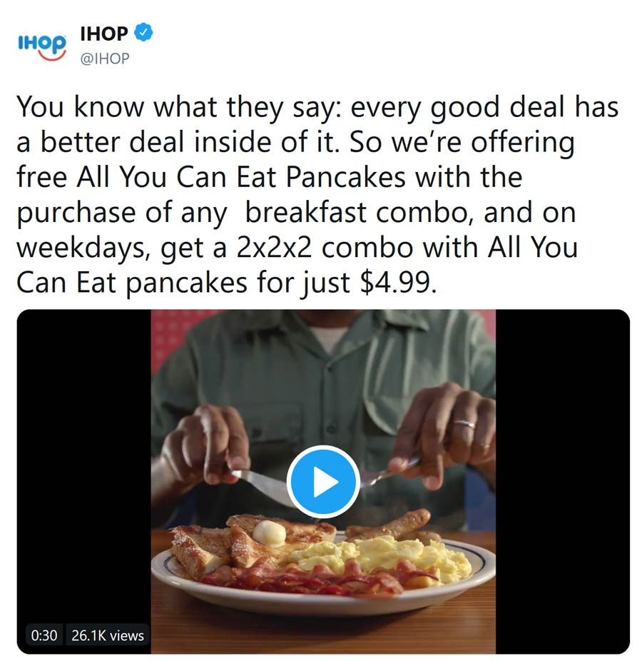 IHOP Coupon January 2020 Free bottomless pancakes with your breakfast combo at IHOP