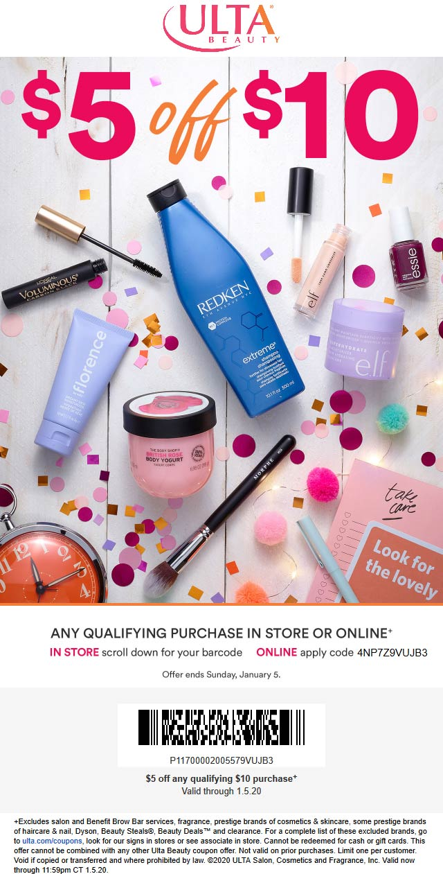 Ulta Beauty Coupon January 2020 $5 off $10 at Ulta Beauty, or online via promo code 4NP7Z9VUJB3