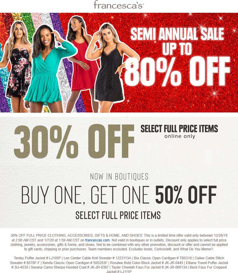 Francescas Coupon January 2020 Second item 50% off at Francescas, or 30% off online