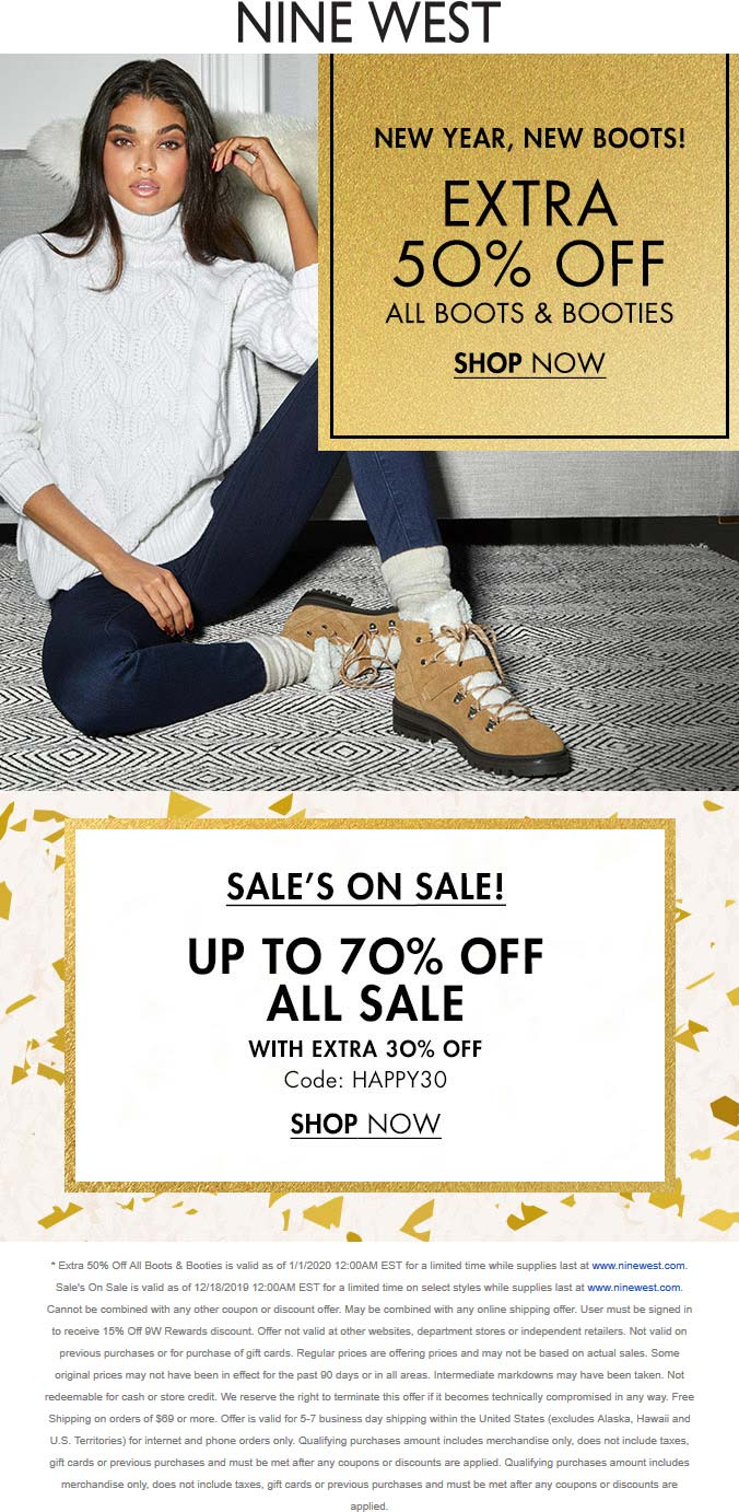 Nine West Coupon January 2020 Extra 30% off sale items & more online at Nine West via promo code HAPPY30