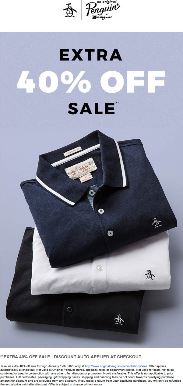 Original Penguin Coupon January 2020 Extra 40% off sale items online today at Original Penguin