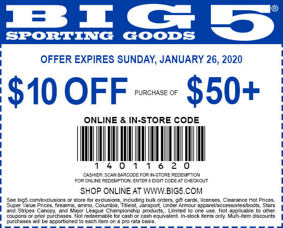 Big 5 Coupon January 2020 $10 off $50 at Big 5 sporting goods, or online via promo code 14011620