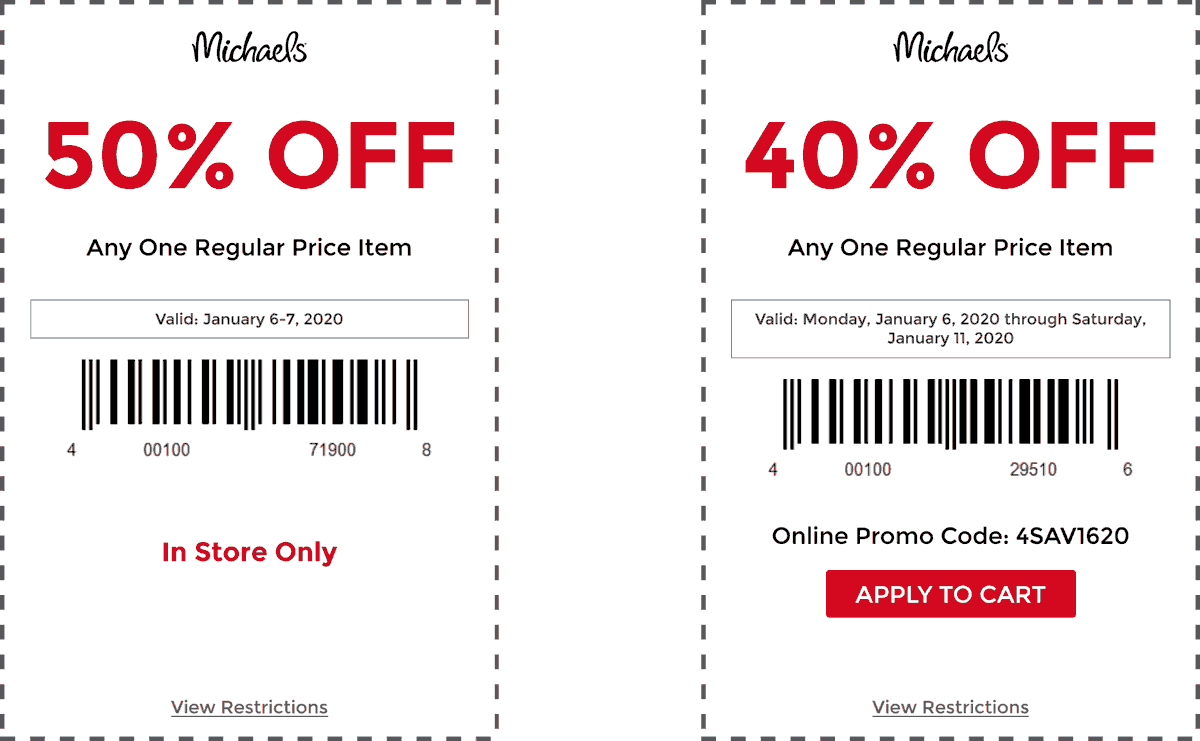 Michaels Coupon January 2020 50% off a single item at Michaels, or 40% online via promo code 4SAV1620