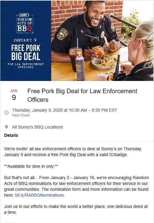 Sonnys BBQ Coupon January 2020 Law enforcement enjoy a free pork big deal Thursday at Sonnys BBQ restaurants