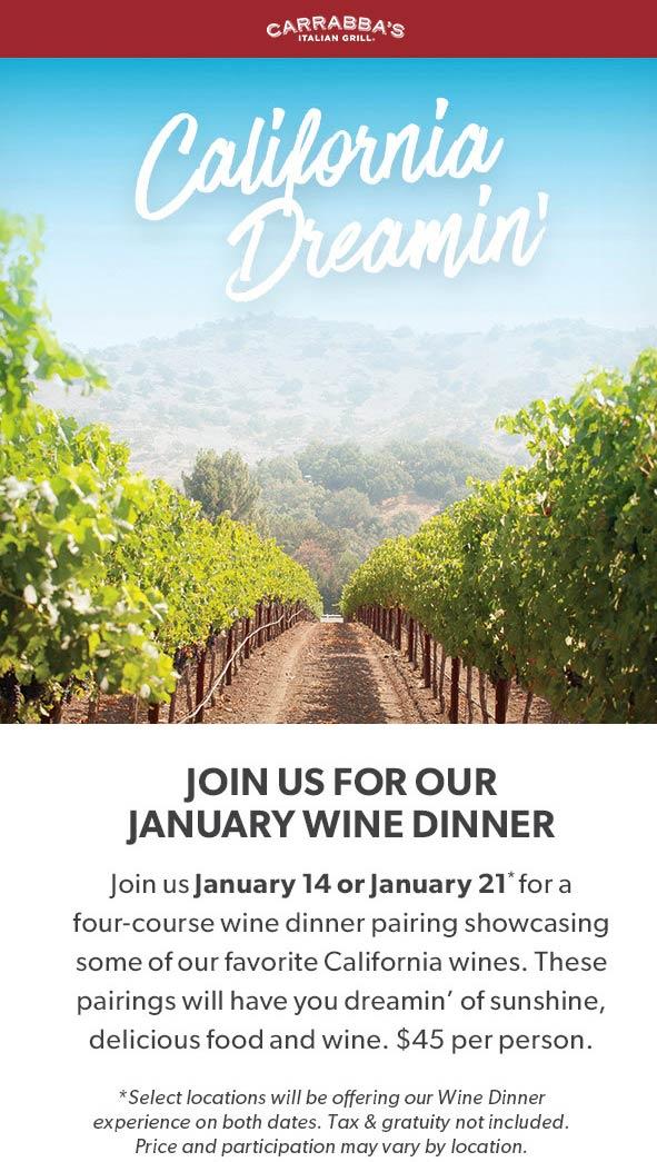 Carrabbas Coupon January 2020 4-course wine dinnner = $45 the 14th & 21st at Carrabbas