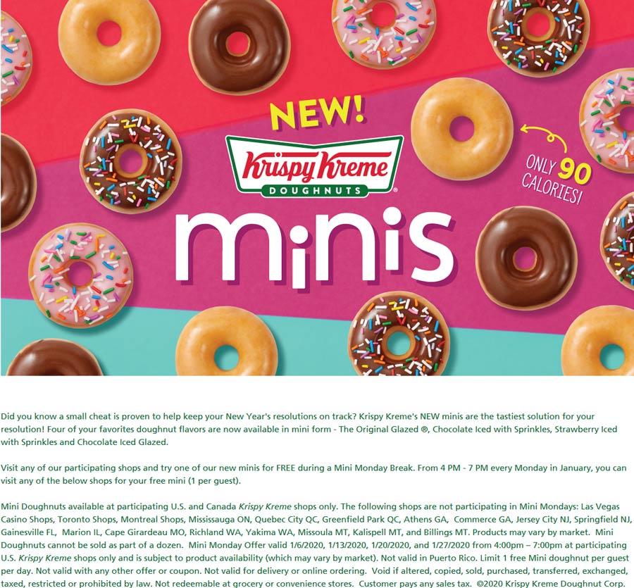 Krispy Kreme Coupon January 2020 Free mini doughnut 4-7p Mondays at Krispy Kreme