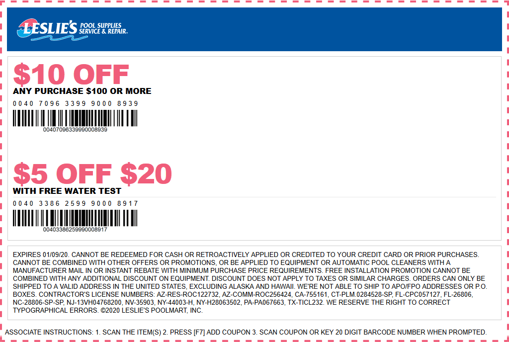 Leslies Pool Supplies Coupon January 2020 $5 off $20 & more at Leslies Pool Supplies