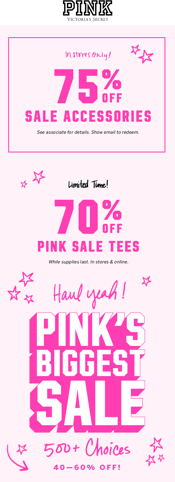 PINK Coupon January 2020 75% off sale accessories & more at PINK