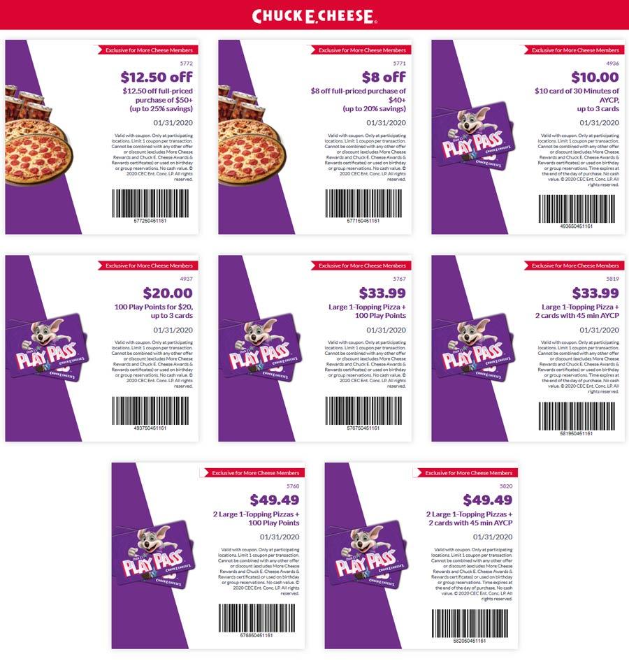 Chuck E. Cheese Coupon January 2020 30min game play = $10 & more at Chuck E. Cheese pizza