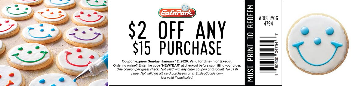 Eat n Park Coupon January 2020 $2 off $15 at Eat n Park restaurants