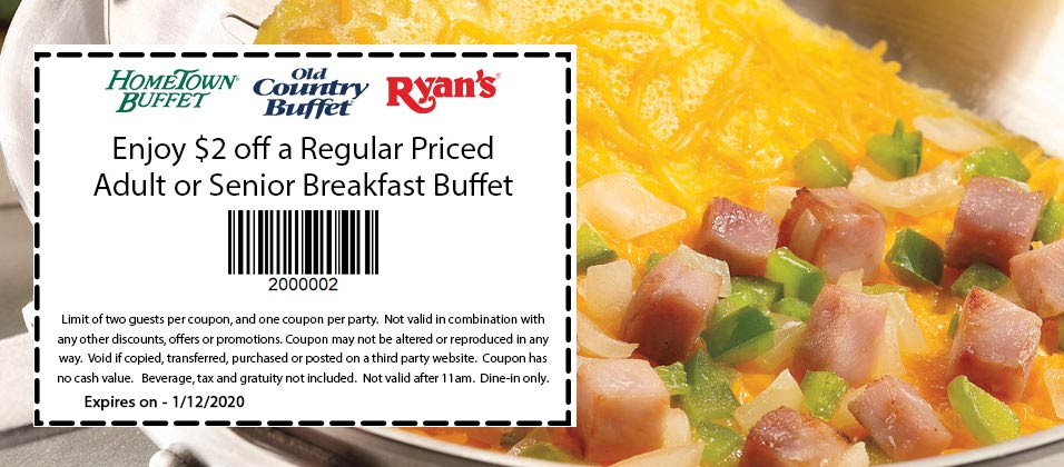 Old Country Buffet Coupon January 2020 $2 off breakfast at Ryans, Hometown Buffet & Old Country Buffet