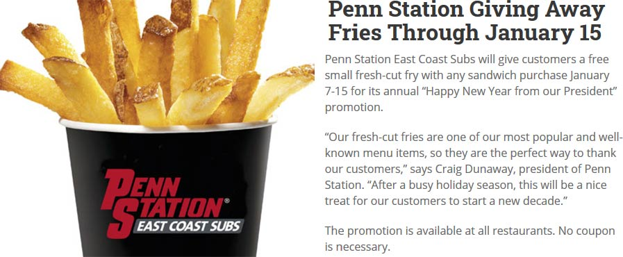 Penn Station Coupon January 2020 Free fries with your sandwich at Penn Station east coast subs