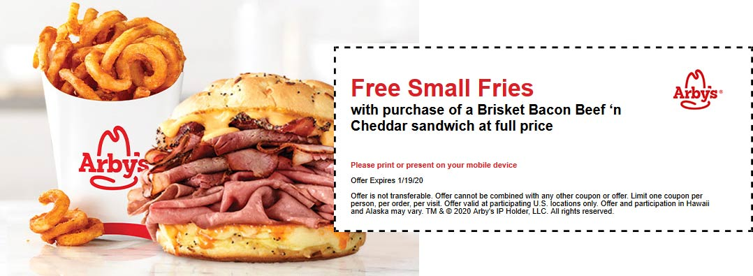 Arbys Coupon January 2020 Free fries with your beef n cheddar sandwich at Arbys