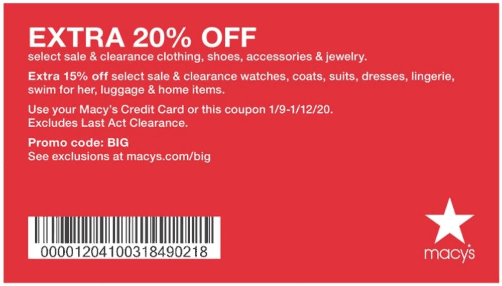 Macys Coupon January 2020 Extra 20% off at Macys, or online via promo code BIG