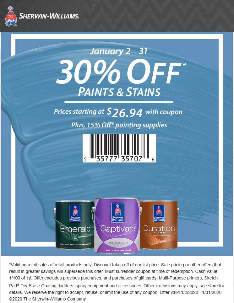 Sherwin Williams Coupon January 2020 30% off paints & stains at Sherwin Williams