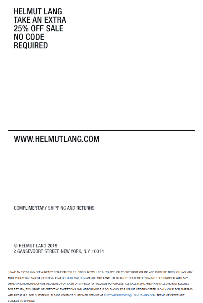 Helmut Lang Coupon January 2020 Extra 25% off sale items at Helmut Lang, ditto online